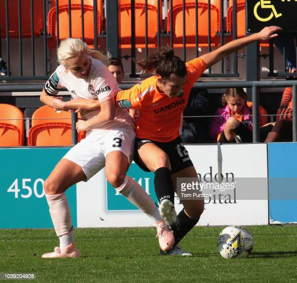 Alex Greenwood of Manchester United Women in action during the WSL 2 match between London Bees and Manchester United Women at The Hive on September...