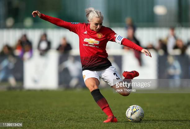 Alex Greenwood of Manchester United Women in action during the WSL 2 match between Tottenham Hotspur Women and Manchester United Women at The Stadium...