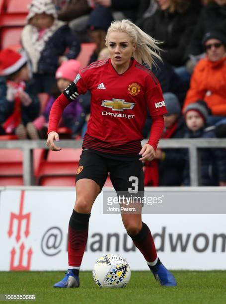 Alex Greenwood of Manchester United Women in action during the WSL match between Manchester United Women and Millwall Lionesses at Leigh Sports...