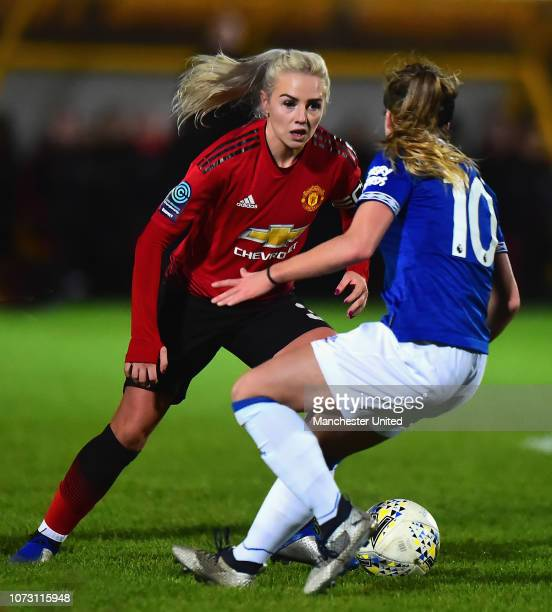 Alex Greenwood of Manchester United Women in action during the WSL Cup match between Everton Women and Manchester United Women on December 13 2018 in...