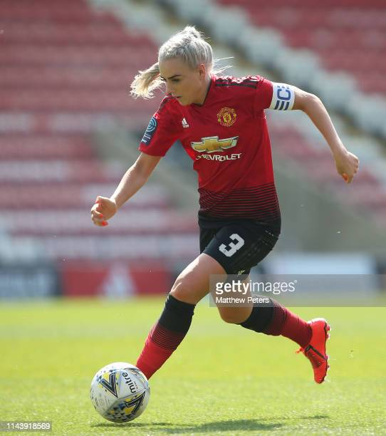 Alex Greenwood of Manchester United Women in action during the WSL match between Manchester United Women and Crystal Palace Women at Leigh Sports...