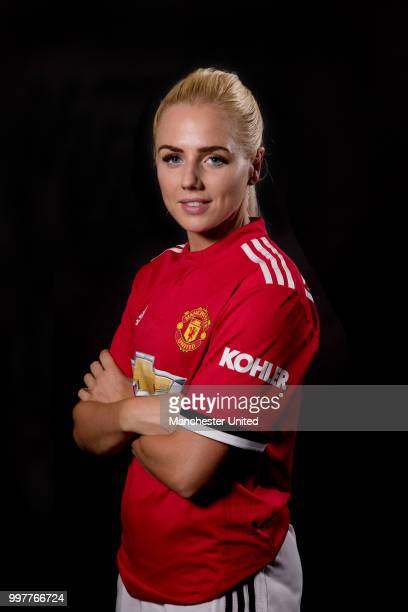 Alex Greenwood of Manchester United Women poses during a photoshoot on July 13 2018 in Manchester England