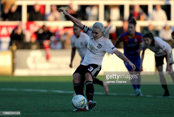 Alex Greenwood of Manchester United Women scores her team's fourth goal from the penalty spot during the FA Women's Championship match between...