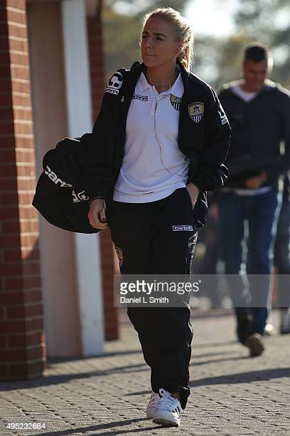 Alex Greenwood of Notts Ladies County FC arrives at The New York Stadium ahead of the WSL Continental Cup Final between Arsenal Ladies FC and Notts...