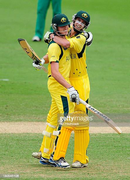 Alex Gregory and Ashton Turner of Australia celebrate winning the ICC U19 Cricket World Cup 2012 Semi Final match between Australia and South Africa...