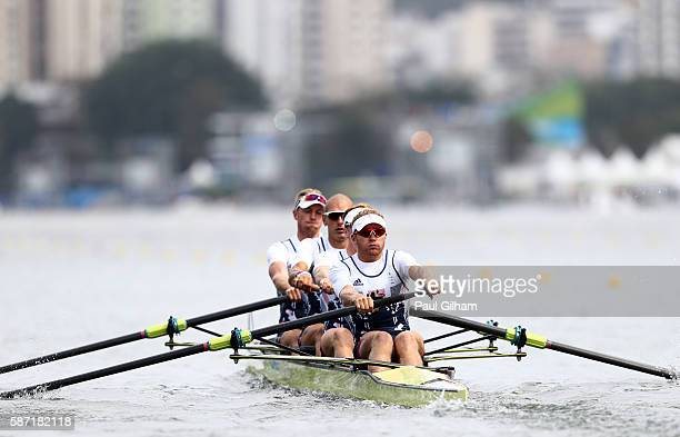Alex Gregory Mohamed Sbihi George Nash and Constantine Louloudis of Great Britain during the Men's four heat 3 on Day 3 of the Rio 2016 Olympic Games...