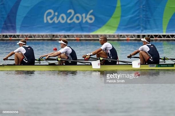 Alex Gregory Mohamed Sbihi George Nash and Constantine Louloudis of Great Britain compete in the Men's Four Final A on Day 7 of the Rio 2016 Olympic...