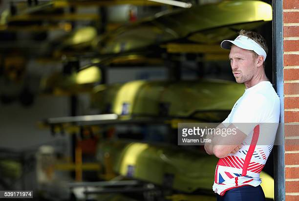 Alex Gregory of Great Britain looks on during training ahead announcement of Rowing athletes named in Team GB for the Rio 2016 Olympic Games pictured...