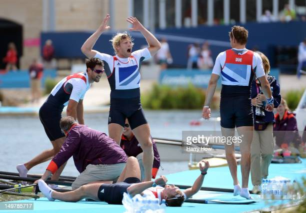 Alex Gregory Pete Reed Tom James and Andrew Triggs Hodge of Great Britain celebrate after winning gold in the Men's Four Final on Day 8 of the London...