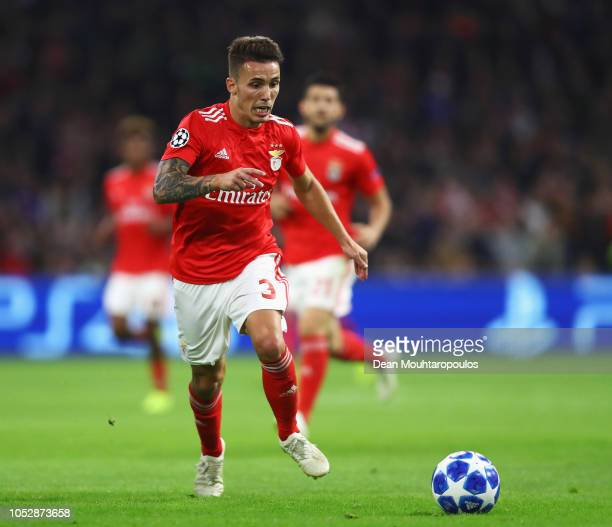 Alex Grimaldo of Benfica in action during the Group E match of the UEFA Champions League between Ajax and SL Benfica at Johan Cruyff Arena on October...