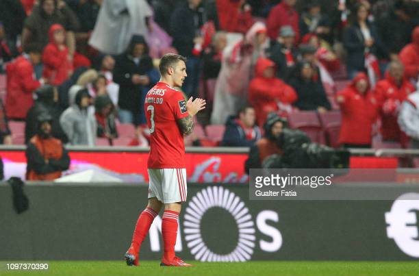 Alex Grimaldo of SL Benfica celebrates after scoring a goal during the Liga NOS match between SL Benfica and CD Nacional at Estadio da Luz on...