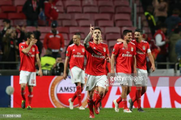 Alex Grimaldo of SL Benfica celebrates after scoring a goal during the UEFA Europa League Round of 16 Second Leg match between SL Benfica and Dinamo...
