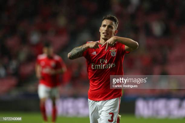 Alex Grimaldo of SL Benfica celebrates after scoring SL Benfica opening goal during the UEFA Champions League Group E match between SL Benfica and...
