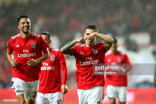 Alex Grimaldo of SL Benfica celebrates scoring SL Benfica fifth goal during the Liga NOS match between SL Benfica and Boavista FC at Estadio da Luz...