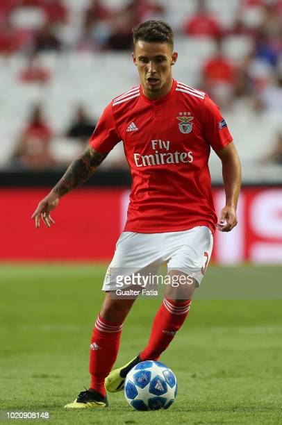 Alex Grimaldo of SL Benfica controls the ball during the UEFA Champions League Play Off match between SL Benfica and PAOK at Estadio da Luz on August...