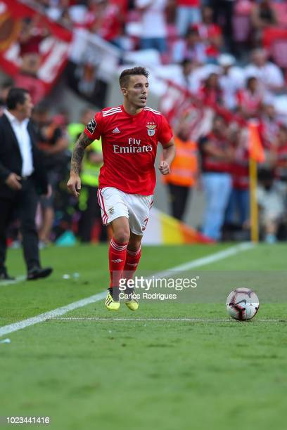 Alex Grimaldo of SL Benfica during the Liga NOS match between SL Benfica and Sporting CP for the third round of Liga NOS at Estadio da Luz on August...