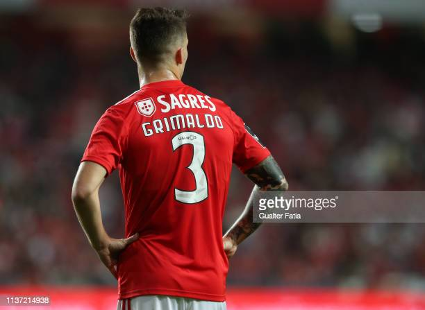 Alex Grimaldo of SL Benfica during the Liga NOS match between SL Benfica and Vitoria FC at Estadio da Luz on April 14 2019 in Lisbon Portugal