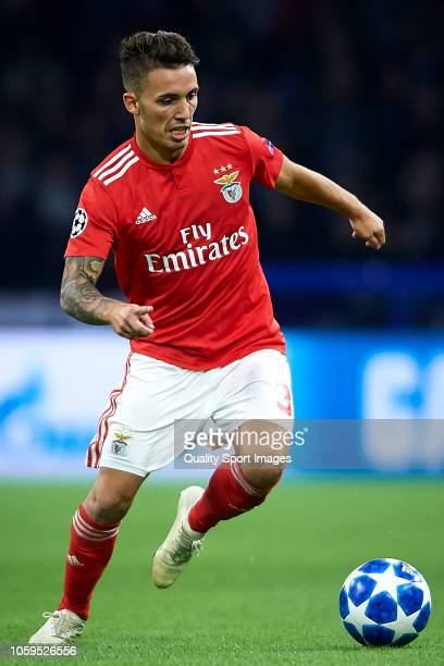 Alex Grimaldo of SL Benfica in action during the Group E match of the UEFA Champions League between Ajax and SL Benfica at Johan Cruyff Arena on...