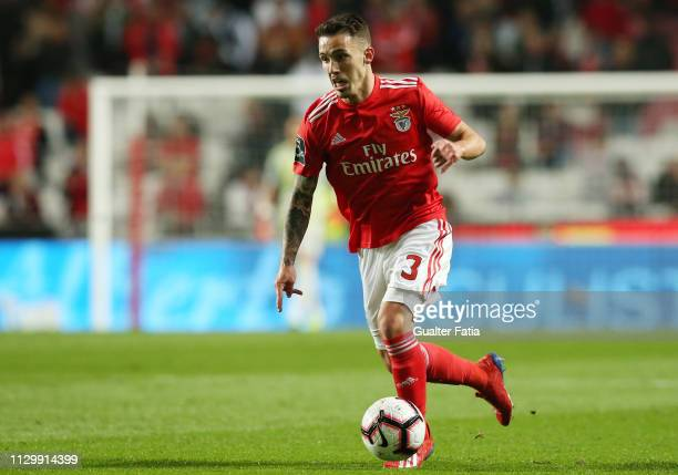 Alex Grimaldo of SL Benfica in action during the Liga NOS match between SL Benfica and Belenenses SAD at Estadio da Luz on March 11 2019 in Lisbon...