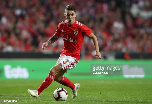 Alex Grimaldo of SL Benfica in action during the Liga NOS match between SL Benfica and Vitoria FC at Estadio da Luz on April 14 2019 in Lisbon...