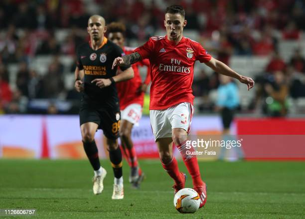 Alex Grimaldo of SL Benfica in action during the UEFA Europa League Round of 32 Second Leg match between SL Benfica and Galatasaray at Estadio da Luz...