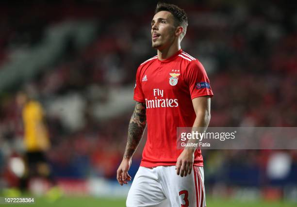 Alex Grimaldo of SL Benfica reacts during the UEFA Champions League Group E match between SL Benfica and AEK Athens at Estadio da Luz on December 12...