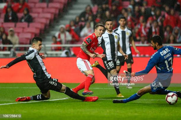 Alex Grimaldo of SL Benfica scores SL Benfica first goal during the Liga NOS match between SL Benfica and CD Nacional at Estadio da Luz on February...