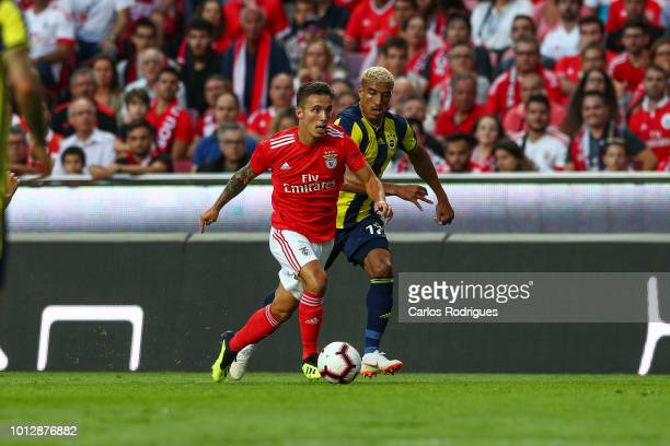 Alex Grimaldo of SL Benfica tries to escape Nabil Dirar of Fenerbache SK during the match between SL Benfica and Fenerbache SK for UEFA Champions...