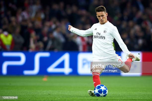 Alex Grimaldo of SL Benfica warms up prior to the Group E match of the UEFA Champions League between Ajax and SL Benfica at Johan Cruyff Arena on...
