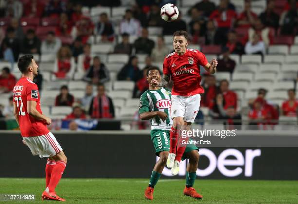 Alex Grimaldo of SL Benfica with Hildeberto Pereira of Vitoria FC in action during the Liga NOS match between SL Benfica and Vitoria FC at Estadio da...