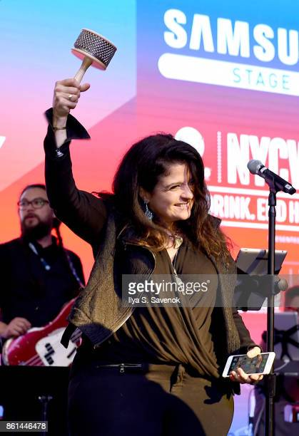 Alex Guarnaschelli plays onstage at the Food Network Cooking Channel New York City Wine Food Festival presented by CocaCola Rooftop Iron Chef...