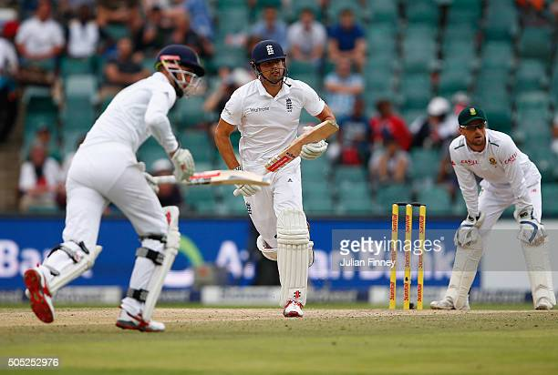 Alex Hales and Alastair Cook of England score runs during day three of the 3rd Test at Wanderers Stadium on January 16 2016 in Johannesburg South...