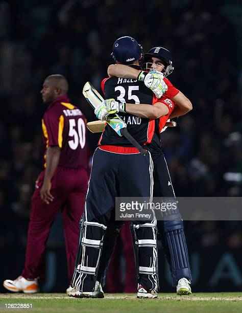 Alex Hales and Craig Kieswetter of England celebrate their win over West Indies during the NatWest International Twenty20 Match between England and...