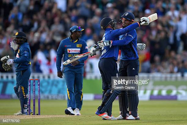 Alex Hales and Jason Roy of England celebrate after scoring the winning runs to win the 2nd ODI Royal London OneDay match between England and Sri...