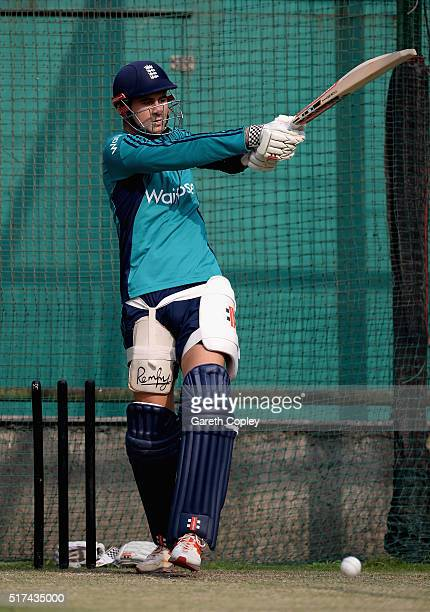Alex Hales of England bats during a net session at Feroz Shah Kotla Ground on March 25 2016 in Delhi India