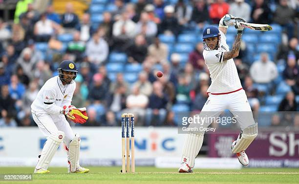 Alex Hales of England bats during day one of the 1st Investec Test match at Headingley on May 19 2016 in Leeds England