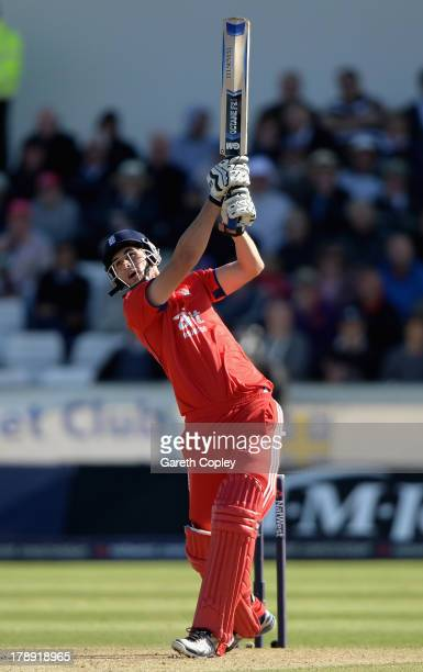 Alex Hales of England bats during the 2nd NatWest Series T20 match between England and Australia at Emirates Durham ICG on August 31, 2013 in...