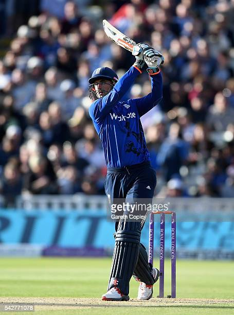 Alex Hales of England bats during the 2nd ODI Royal London OneDay match between England and Sri Lanka at Edgbaston on June 24 2016 in Birmingham...