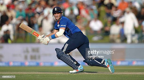 Alex Hales of England bats during the 2nd One Day International between Pakistan and England at Zayed Cricket Stadium on November 13 2015 in Abu...