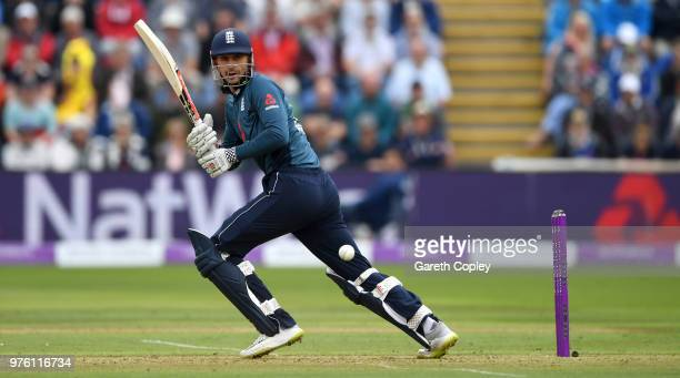 Alex Hales of England bats during the 2nd Royal London ODI between England and Australia at SWALEC Stadium on June 16, 2018 in Cardiff, Wales.