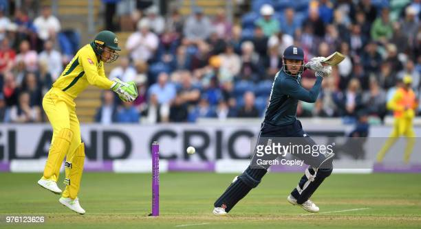Alex Hales of England bats during the 2nd Royal London ODI between England and Australia at SWALEC Stadium on June 16 2018 in Cardiff Wales