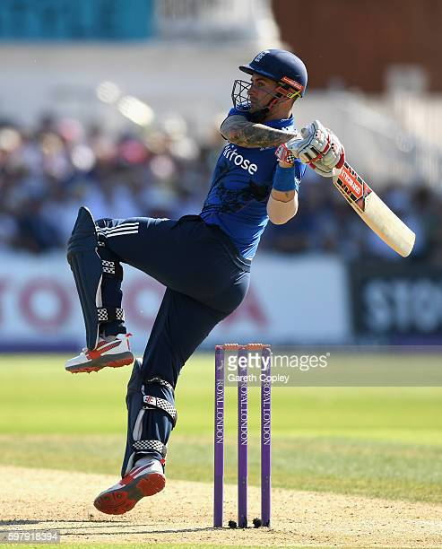 Alex Hales of England bats during the 3rd One Day International match between England and Pakistan at Trent Bridge on August 30 2016 in Nottingham...