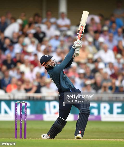 Alex Hales of England bats during the 3rd Royal London ODI match between England and Australia at Trent Bridge on June 19, 2018 in Nottingham,...