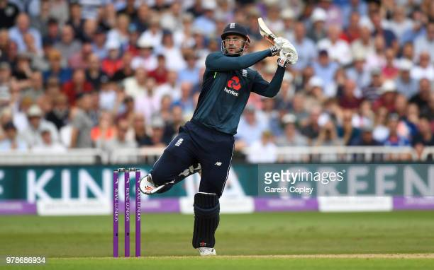 Alex Hales of England bats during the 3rd Royal London ODI match between England and Australia at Trent Bridge on June 19 2018 in Nottingham England