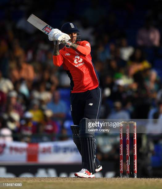 Alex Hales of England bats during the 3rd Twenty20 International match between England and West Indies at Warner Park on March 10 2019 in Basseterre...