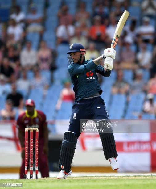 Alex Hales of England bats during the Fifth One Day International match between England and West Indies at Darren Sammy Cricket Ground on March 02...