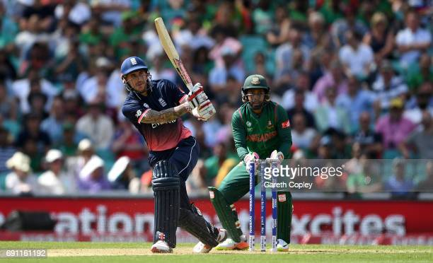 Alex Hales of England bats during the ICC Champions Trophy group match between England and Bangladesh at The Kia Oval on June 1 2017 in London England