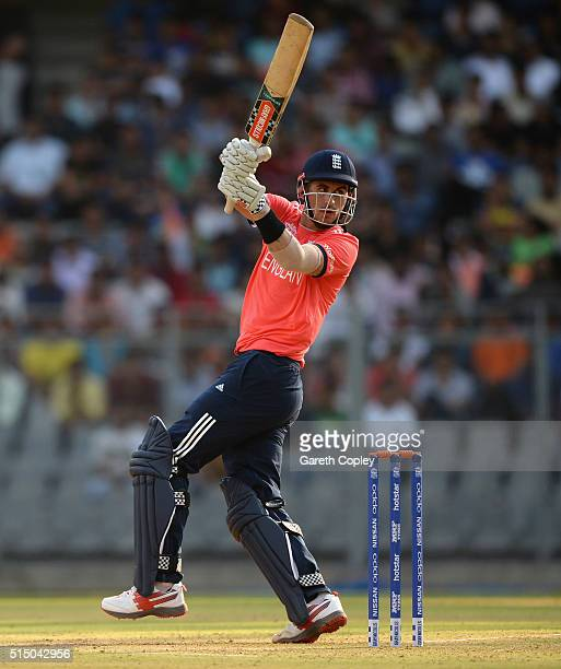 Alex Hales of England bats during the ICC Twenty20 World Cup warm up match between New Zealand and England at Wankhede Stadium on March 12 2016 in...