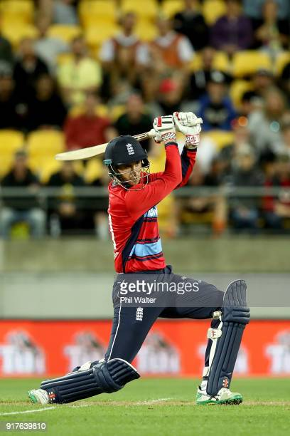 Alex Hales of England bats during the International Twenty20 match between New Zealand and England at Westpac Stadium on February 13 2018 in...