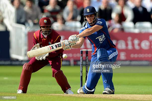 Alex Hales of England bats during the Natwest International T20 match between England and the West Indies at Trent Bridge on June 24 2012 in...